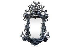 One Kings Lane - Vintage Jewelry & Accents - Black Seashell Mirror w/ Candelabra