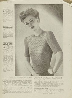 """'When You're """"Off Duty""""' Pattern for a jumper From Woman's Weekly 1940s, knitting pattern free from the V"""