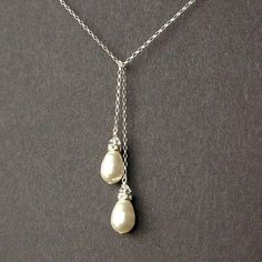 Swarovski Pearl and Sterling Silver Lariat Necklace by luxedeluxe, $57.00