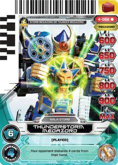 Thunderstorm Megazord Power Rangers Trading Card Power Rangers Ninja Storm, Power Rangers In Space, Power Rangers Art, Power Rangers Megazord, Abc Family, Thunderstorms, Archie, Trading Cards, Kamen Rider