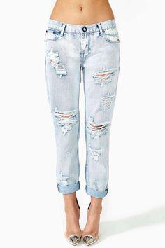 I still think shredded jeans look cheap, tacky, adolescent.