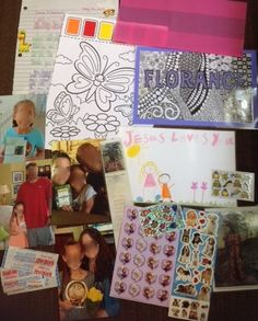 """Florence (3) May 2015  *Letter theme: introducing our family; my Salvation story    * Inside cellophane party bag: family photos, copy of her own Compassion photo and bookmark, stickers, bandaids  *Also included: laminated name card that I """"zentangled,""""  a picture my daughter drew for her, paint with water picture."""