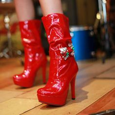 Shiny Red Patent Leather Round Closed Toe Stiletto Super High Heel Boots #ShopSimple