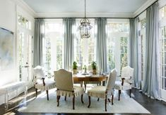 Dining...French country soft blues. English French country traditional dining room.
