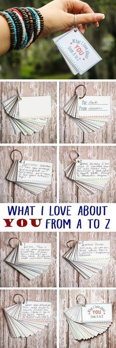 Creative Valentines� day Gifts for Him: 12. A-Z 'What I Love About You' Notes #boyfriendgiftsideas