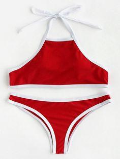 ¡Cómpralo ya!. Contrast Piping Halter Bikini Set. Red Bikinis Sexy Vacation Halter Top Polyester YES Swimwear. , bikini, bikini, biquini, conjuntosdebikinis, twopiece, bikini, bikini, bikini, bikini, bikinis. Bikini  de mujer   de SheIn.