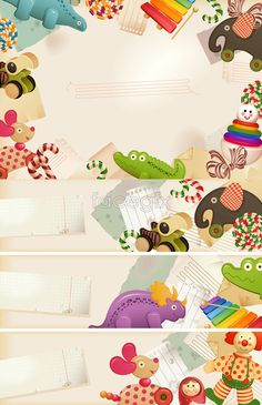 Border cartoon toys Vector