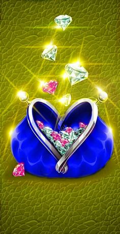 Blue purse of gems yellow background Diamond Wallpaper, Heart Wallpaper, Apple Wallpaper, Love Wallpaper, Colorful Wallpaper, Iphone Wallpaper, Heart Background, Yellow Background, Love Picture Quotes