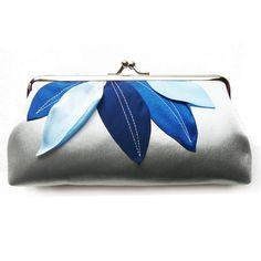 Funny,+simple+small+clutch+with+blue+leaves..+von+Cuteandunique+auf+DaWanda.com