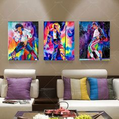 3 Panel Oil Painting Picture Canvas Famous Star Michael Jackson Home Decaration Printing On