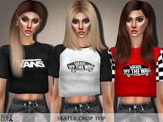 Black Lily's Skater Crop Top - hair peinados Sims 4 Mods Clothes, Sims 4 Clothing, Sims 4 Tsr, Sims Cc, Sims Costume, Sims 4 Cc Eyes, Play Sims 4, The Sims 4 Packs, Sims 4 Game Mods