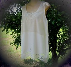 Boho lace tunic top white cotton vintage upcycled  by divasvintage, $32.00