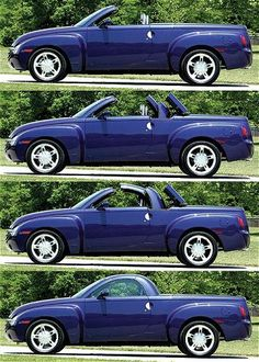 Chevrolet SSR perfect summer car because Kayaks dont fit in the convertible Chevy Hhr, Chevy Pickups, Chevrolet Trucks, Chevrolet Corvette, Chevy Trucks, Vintage Pickup Trucks, Classic Pickup Trucks, Fancy Cars, Cute Cars