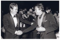 Jean-Paul Belmondo and Alain Delon, at the first meeting of a new show titled Lido Kakariko, March 17, 1981