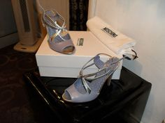 LOVE IT!!!!   MOSCHINO CHEAP & CHIC Lilac & Silver High Heel Strappy Sandals Shoes - 4 (37) | eBay