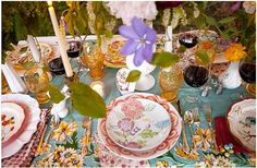 Mis matched table settings! I just got these similar amber color glasses