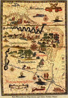 Map of South America drawn 1558 by Diogo Homem / Era filho de Lopo Homem e…