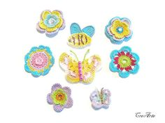 Crochet colorful appliques Set of 8 crochet by CreArtebyPatty