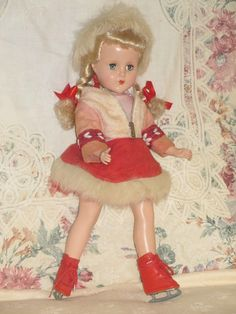 "Vintage 14"" Blonde Arranbee Nanette Doll Skating Costume Fur Trim Sleep Eyes"