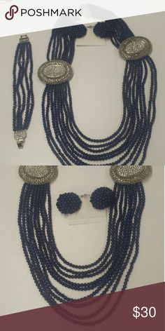 Formal Costume Jewelry Set Costume beaded earring, necklace, and bracelet set Jewelry