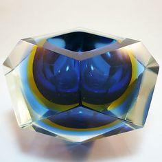 Murano Mandruzzato Glas Vase Schale • facettiert • 4- fach -Sommerso • Perfekt!