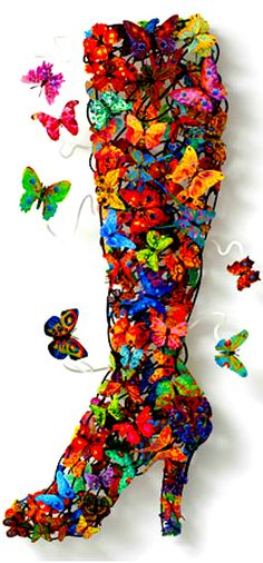 Beautiful Colors Of The Rainbow in a boot #butterfly #getinsync #shoes