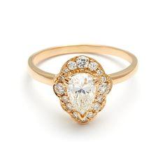 Camellia Petal Ring - White Diamond