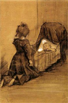 Girl Kneeling by a Cradle, Vincent van Gogh 1883