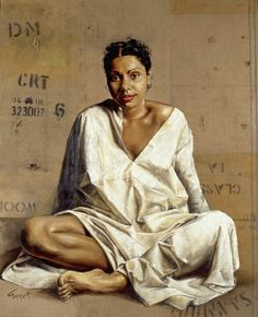 """Deborah Mailman"" in 1999 by Evert Ploeg. Oil on jute wool bale. National Portrait Gallery."