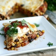 This vegetarian version of Mexican Lasagna is sure to please the whole family. #foodgawker