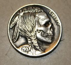 skull on dime - tramp art Hobo Nickel, Side Quote Tattoos, Modern Tools, 3d Cnc, Coin Art, Skull And Bones, Coin Collecting, Skull Art, Monet