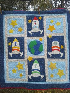 Crib Bedding Boy, Kids Bedding Sets, Boy Quilts, Girls Quilts, Outer Space Theme, Long Arm Quilting Machine, Sun And Stars, Custom Quilts, Decorative Pillow Cases