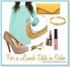 mint dress w bold gold accessories