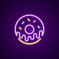 Donut Neon Light - Neonize It! Wallpaper Iphone Neon, Aesthetic Iphone Wallpaper, Cartoon Wallpaper, Neon Light Signs, Led Neon Signs, Neon Painting, Neon Logo, Neon Design, Simple Acrylic Paintings