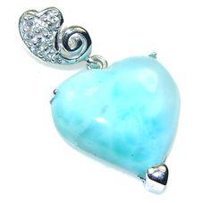 $68.15 LOVELY!!  Light Blue Larimar Sterling Silver Pendant at www.SilverRushStyle.com #pendant #handmade #jewelry #silver #larimar