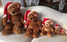 NEW MINT TY Five (5) Sizes 1997 HOLIDAY TEDDY BEANIE BABIES / BUDDIES  #Ty