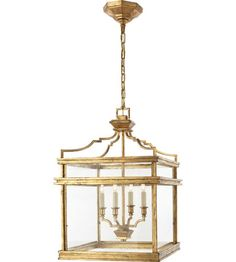 Visual Comfort E.F. Chapman Mykonos 4 Light Ceiling Lantern in Gilded Iron with Wax CHC2161GI #visualcomfort #lightingnewyork #lighting