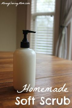 Homemade Soft Scrub -- I cannot believe I waited so long to try this! It's SO easy! Just 3 ingredients and can be made in about 3 minutes!