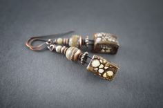 rustic earrings • artisan ceramic pendant • striped brown Agate • oxidized copper • ethnic earrings • tribal • primitive • earthy • organic by entre2et7 on Etsy