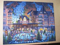 "Dowdle Folk Art VAIL VILLAGE CO 500 pc jigsaw puzzle 16""x20"" ski/ice skating EXC #DowdleFolkArt"