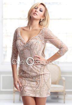 Brilliant Lace Mini Length Long Sleeve Sheath Cocktail Dress with Rhinestones