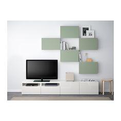 BESTÅ TV-Möbel, Kombination - Lappviken grün/weiß, Schubladenschiene, Drucksystem - IKEA