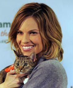 Hilary Swank tirou essa foto para ajudar a promover a campanha de adoção de gatos