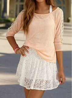 Adorable White Lace Dress. Peach Shirt. Teen Fashion. By-Lily Renee♥ follow (Iheartfashion14).