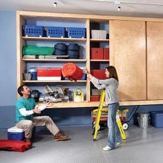 Now THIS is what we need for our garage! Store camping equipment, tools, toys, and even clothes in this oversized garage (or basement) storage cabinet. Sliding doors keep everything clean, and hanging it from the wall keeps everything dry and mold-free. Garage Storage Shelves, Garage Storage Solutions, Garage Shelf, Basement Storage, Garage Gym, Garage Organization, Diy Storage, Storage Spaces, Storage Ideas