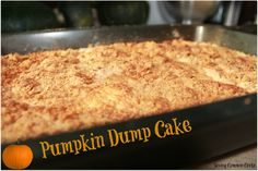 Pumpkin Dump Cake! Ingredients (1) 15oz can Pumpkin (1) 10oz can Evaporated Milk (1) cup light brown sugar (3) eggs (slightly beaten) (3) tsp pumpkin pie spice (1) box yellow cake mix (1) cup butter, melted (2 sticks) (1) cup crushed graham crackers or pecans (your preference)