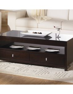 Espresso Coffee Table With Storage   The Most Convenient Unit Of A Living  Room Furniture Kit