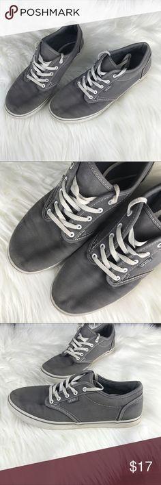 VANS Grey Canvas Vans Size 7.5 Grey Canvas Lace Shoes Vans Shoes Sneakers