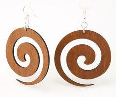 Wood Earrings- Tribal Swirls at www.theecotopia.com