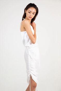 in white sandwashed silk Perfect Wardrobe, Criss Cross, Wardrobe Staples, White Dress, Blazer, Silk, Skirts, How To Wear, Collection